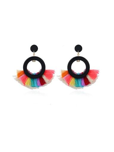 Trendy Fan Shaped Double Tassel Stud Earrings