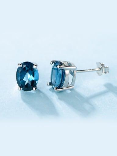 Blue Zircon stud Earring