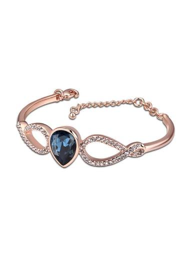 Simple Rose Gold Plated Water Drop Swarovski Crystal Bracelet