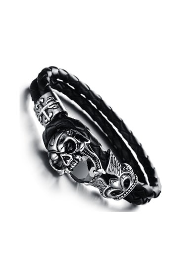 Personalized Skull Artificial Leather Men Bracelet