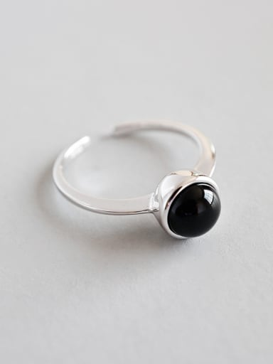 Sterling silver retro minimalist black agate free size ring