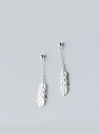 S925 Silver Simple Fashion Feather threader earring