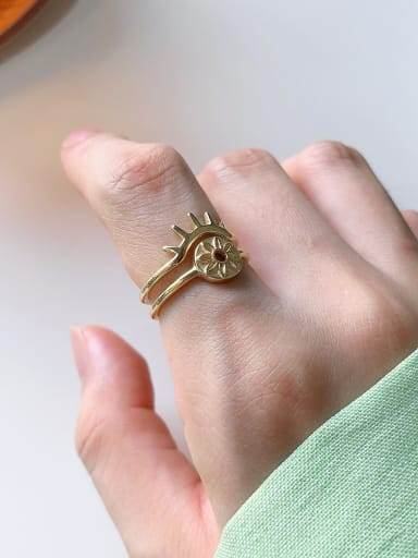925 Sterling Silver With Gold Plated Simplistic Sun Free Size Rings