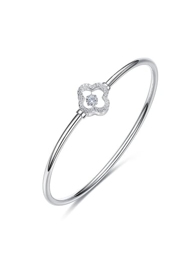 Simple Hollow Four-leaf Clover Cubic Rotational Zircon 925 Silver Bangle