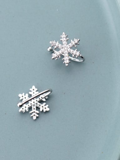 925 Sterling Silver With Platinum Plated Simplistic   Snowflake  Clip On Earrings
