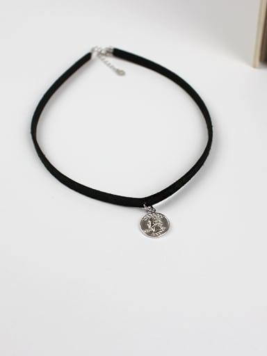 Personalized Silver Dollar Coin Black PU Leather Choker