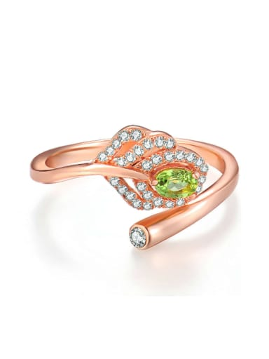 Leaves-shape Silver Micro Pave Zircons Opening Ring