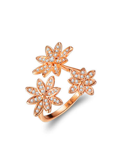 All-match Rose Gold Plated Three Flower Design Ring