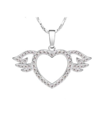 Love Heart Pendant, Studded With High Quality Zircon, Platinum Plated Color, Anti allergy