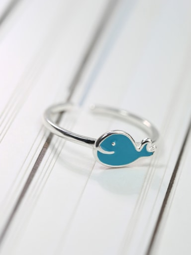 Simple Tiny Blue Dolphin 925 Silver Glue Opening Ring