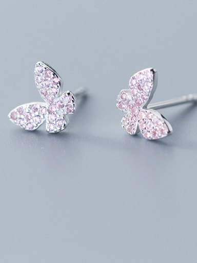 925 Sterling Silver With Platinum Plated Simplistic Full Diamond  butterfly Stud Earrings