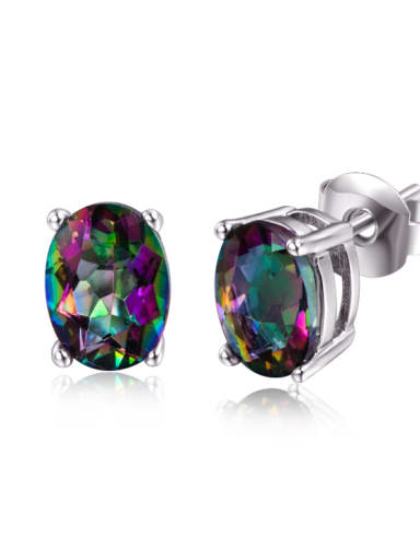 Colorful Popular Oval Shaped Fashion Stud Earrings
