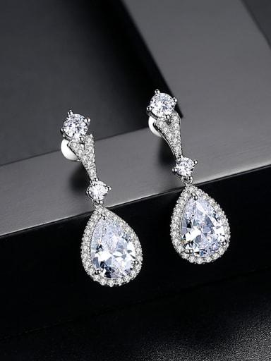 Copper inlaid AAA zircon drop-shaped earrings