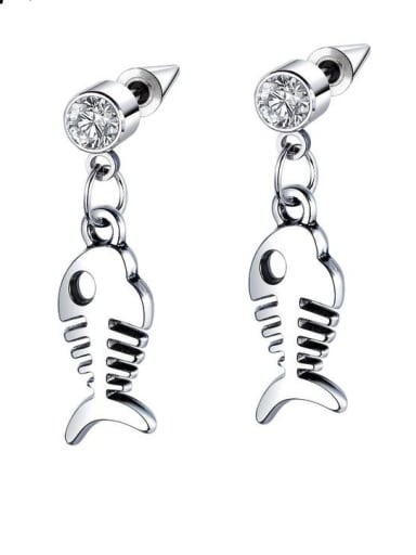 Stainless Steel With Personality fishbone Stud Earrings