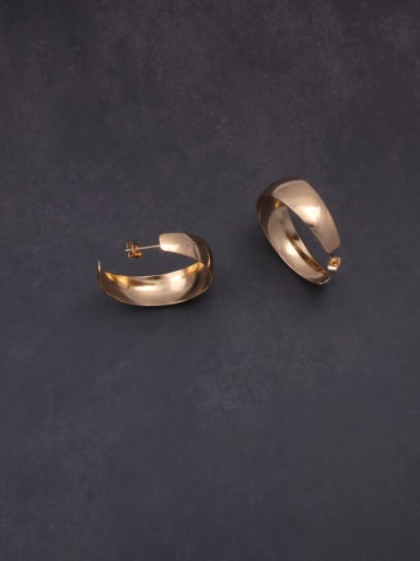 Titanium With Rose Gold Plated Simplistic Geometric Hoop Earrings