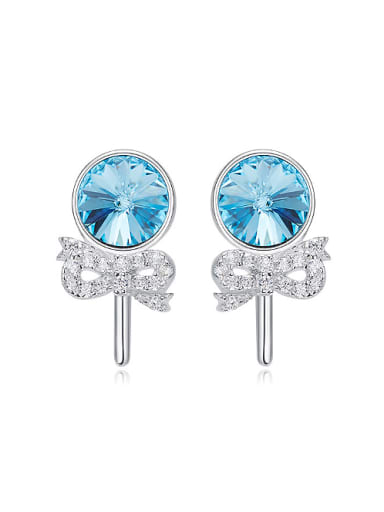 Fashion Blue Swarovski Crystals Little Bowknot 925 Silver Stud Earrings