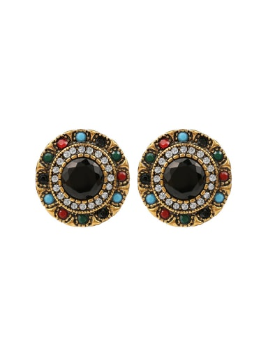 Retro style Colorful Resin stones Crystals Round Earrings