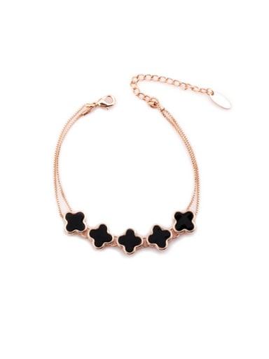 Women Rose Gold Clover Bracelet