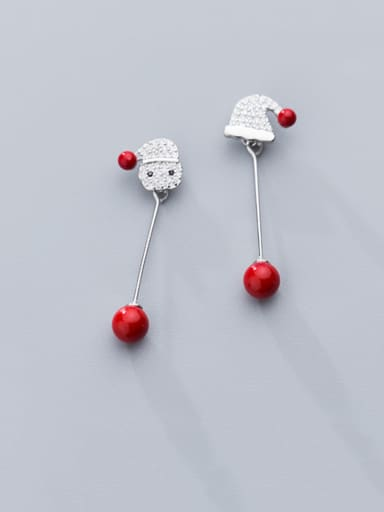 925 Sterling Silver With Platinum Plated Cute Asymmetric Red Beaded Santa Hat Drop Earrings