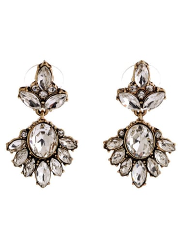 Retro Luxury Rhinestones Drop Cluster earring