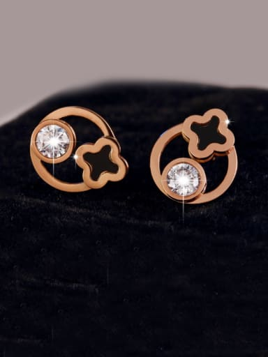 Simple Style Stainless Steel Clover Shaped stud Earring