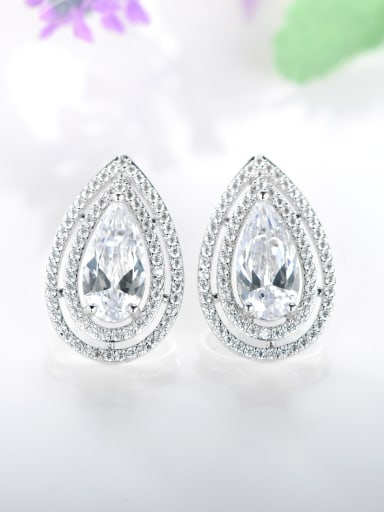 925 Sterling Silver With Platinum Plated Luxury Water Drop Stud Earrings