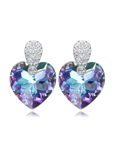 Fashion Purple Heart Swarovski Crystals Copper Stud Earrings