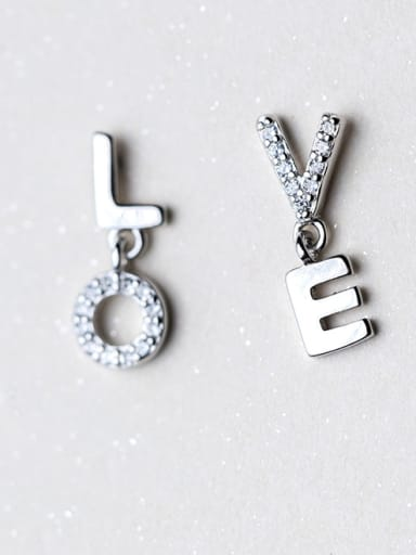 Fresh Monogrammed Shaped Asymmetric S925 Silver Drop Earrings