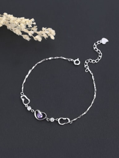 925 Silver Peas Shaped Zircon Bracelet