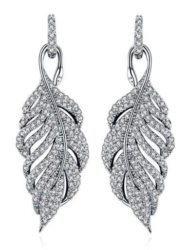 Copper With 18k White Gold Plated Trendy Leaf Cluster Earrings
