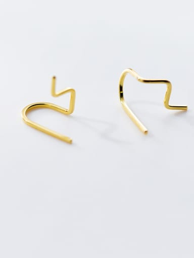 925 Sterling Silver With Smooth Simplistic Line Threader Earrings