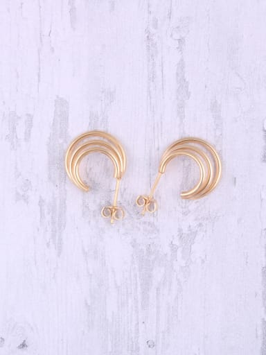 Titanium With Gold Plated Simplistic Multiple rings Stud Earrings