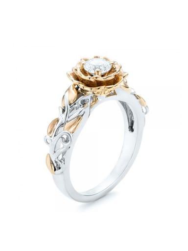 Women Elegant Double Color Flower Zircon Ring