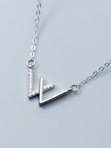 Elegant Letter W Shaped Rhinestone S925 Silver Necklace