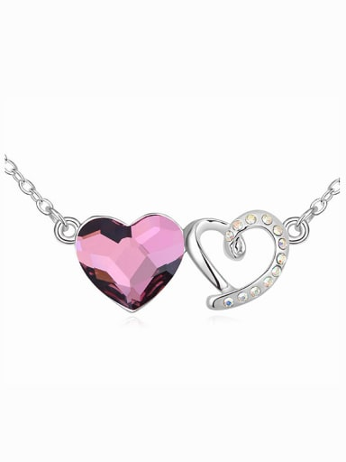 Fashion Swarovski Crystals Double Heart Pendant Alloy Necklace