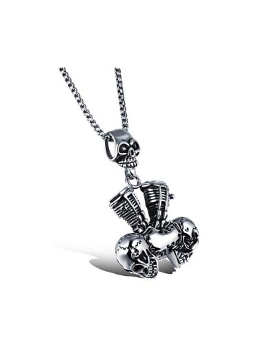Punk style Personalized Skulls Titanium Necklace
