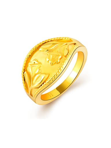 High Quality 24K Gold Plated Flower Pattern Copper Ring