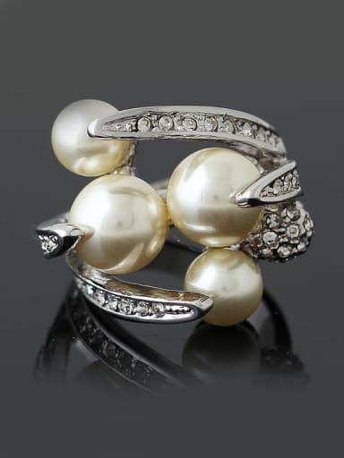 Exaggerated Artificial Pearls Rhinestones Alloy Ring