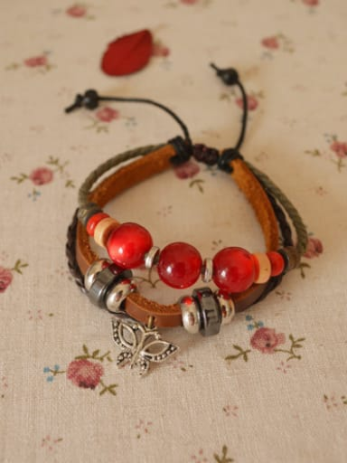 Multi-layer Butterfly Shaped Red Beads Bracelet