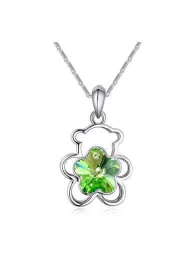 Simple Flowery Swarovski Crystal Hollow Bear Alloy Necklace