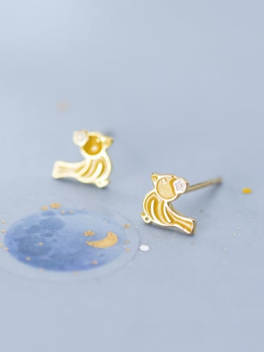 925 Sterling Silver With Platinum Plated Cute Little Bird Stud Earrings