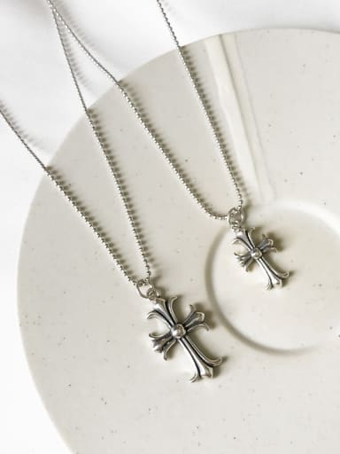 Sterling Silver classic retro style Cross Necklace