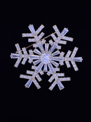 Copper With  Cubic Zirconia Classic snowflake Brooches