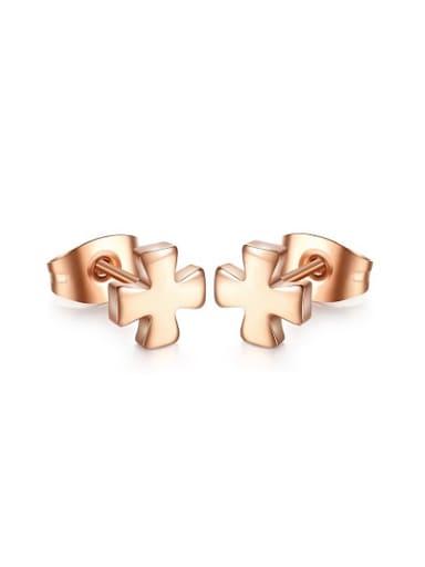 Elegant Rose Gold Plated Cross Shaped Titanium Stud Earrings