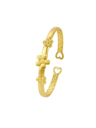 Copper Alloy 24K Gold Plated Ethnic style Flower Opening Bangle
