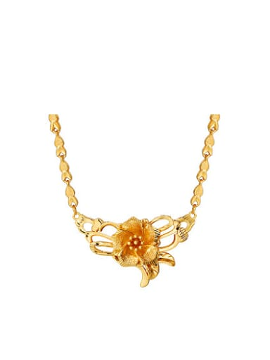 Copper Alloy 24K Gold Plated Vintage style Flower Necklace