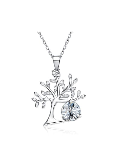 Personalized Cubic Swarovski Crystal Tree 925 Silver Necklace