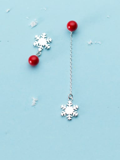 925 Sterling Silver With Platinum Plated Cute Asymmetry Snowflake  Stud Earrings