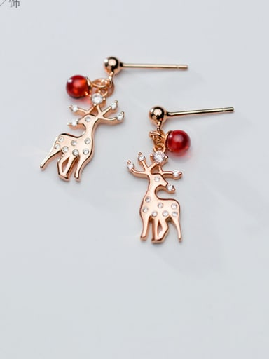 925 Sterling Silver With Rose Gold Plated Cute Elk Drop Earrings