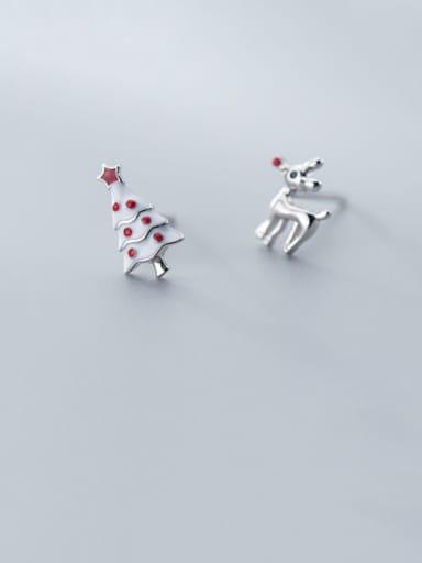 925 Sterling Silver With Platinum Plated Cute  Deer Asymmetrical Christmas Tree Stud Earrings